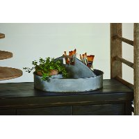 Magnolia Home Furniture Aged Zinc Tin Garden Tote with 4 Compartments