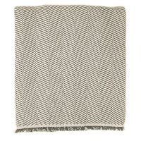 Smoke Gray and Off-White Herringbone Throw