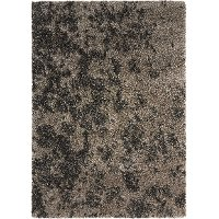 8 x 11 Large Granite Gray & Chocolate Brown Shag Rug - Amore