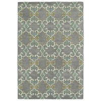 5 x 8 Medium Gray, Ivory & Turquoise Blue Rug - Melange
