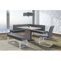 Gray & Silver 4 Piece Corner Dining Room Set - Zenith