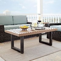 CO7225-BR Dark Brown Wicker Coffee Table - Beaufort