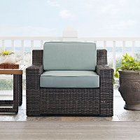 CO7155-BR Mist/Dark Brown Wicker Arm Chair - Beaufort