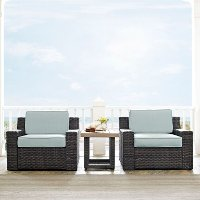 KO70099BR Mist and Brown Wicker Patio Furniture 3 Piece Set - Beaufort