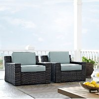 KO70100BR Mist and Brown Wicker Patio Furniture 2 Piece Set - Beaufort
