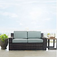 KO70102BR Mist/Dark Brown Outdoor Wicker Loveseat - Beaufort