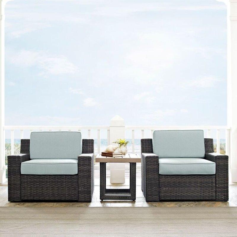 Mist And Brown Wicker Patio Furniture 3, 3 Piece Wicker Patio Furniture Set