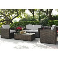 KO70001BR-GY Gray and Brown 4 Piece Wicker Furniture Set - Palm Harbor