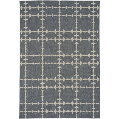 8 X 11 Large Charcoal Gray Indoor Outdoor Rug   Finesse Tower Court