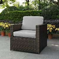 KO70088BR-GY Gray and Brown Wicker Patio Arm Chair - Palm Harbor