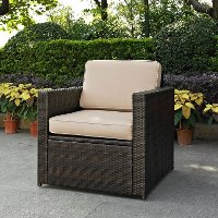 KO70088BR-SA Sand and Brown Wicker Patlo Arm Chair - Palm Harbor