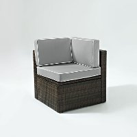 KO70089BR-GY Gray and Brown Wicker Patio Corner Chair - Palm Harbor