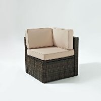 KO70089BR-SA Sand and Brown Wicker Patio Corner Chair - Palm Harbor