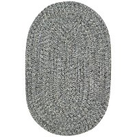 XX-Small Smokey Quartz Gray Oval Braided Indoor-Outdoor Rug - Sea Glass