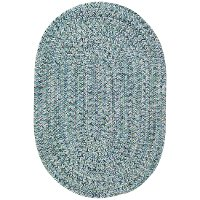 5 x 8 Medium Ocean Blue Oval Braided Indoor-Outdoor Rug - Sea Glass