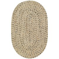 2 x 3 X-Small Shell Taupe Oval Braided Indoor-Outdoor Rug - Sea Glass