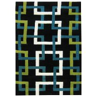 8 x 10 Large Black, Green, and Blue Rug - Capetown