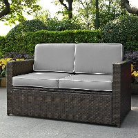KO70092BR-GY Gray and Brown Wicker Patio Furniture Loveseat - Palm Harbor