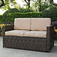KO70092BR-SA Sand and Brown Wicker Patio Furniture Loveseat - Palm Harbor