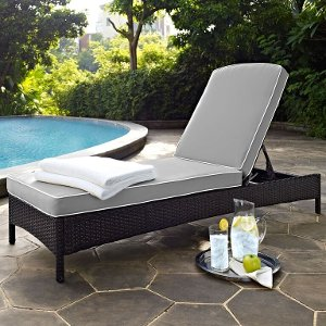 ... KO70093BR GY Palm Harbor Gray/ Dark Brown Wicker Chaise Lounge Free  Shipping