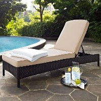 KO70093BR-SA Sand and Brown Wicker Patio Chaise Lounge - Palm Harbor