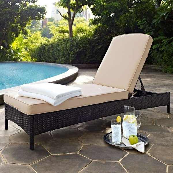 Ko70093br Sa Sand And Brown Wicker Patio Chaise Lounge Palm Harbor