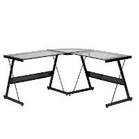 Glass Top L Shaped Desk - Solano
