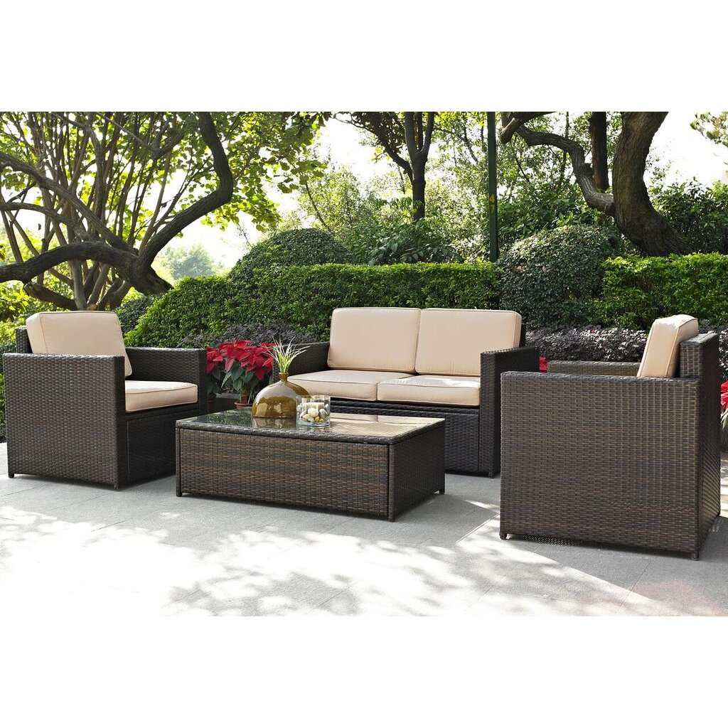 Sand And Brown 4 Piece Wicker Furniture Set Palm Harbor Rc Willey