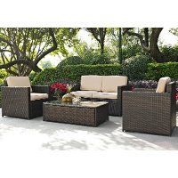 KO70001BR-SA Sand and Brown 4 Piece Wicker Patio Furniture Set - Palm Harbor