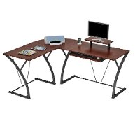 Espresso Brown L Shaped Desk - Khloe