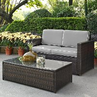 KO70002BR-GY Gray and Brown 2 Piece Wicker Furniture Set - Palm Harbor