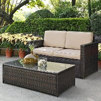 KO70002BR-SA Sand and Brown 2 Piece Wicker Furniture Set - Palm Harbor