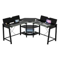Glass Top L Shaped Computer Desk - Vance