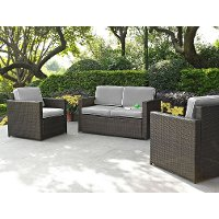 KO70003BR-GY Gray and Brown 3 Piece Wicker Patio Furniture Set - Palm Harbor