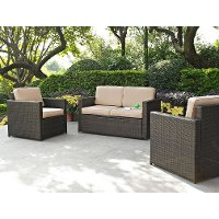 KO70003BR-SA 3 Piece Loveseat and Chairs Wicker Furniture Set - Palm Harbor