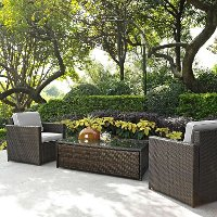 KO70004BR-GY Gray and Brown 3 Piece Wicker Furniture Set - Palm Harbor