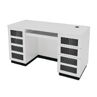 Contemporary White Computer Desk - Morvan