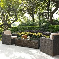 KO70004BR-SA Sand and Brown 3 Piece Wicker Patio Furniture Set - Palm Harbor