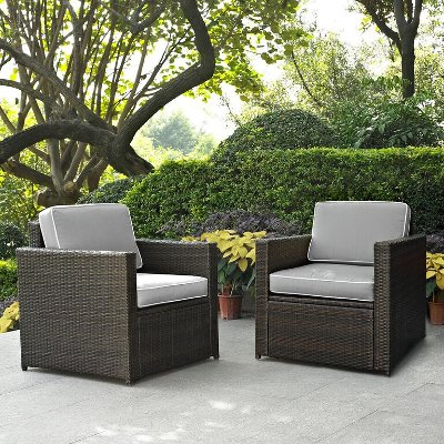 KO70005BR GY Gray And Brown 2 Piece Wicker Patio Furniture Set   Palm Harbor