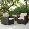 KO70005BR-SA Sand and Brown 2 Piece Wicker Patio Furniture Set - Palm Harbor
