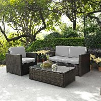 KO70006BR-GY Gray and Brown 3 Piece Wicker Patio Furniture Set - Palm Harbor