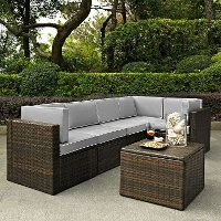 KO70007BR-GY Gray and Brown 6 Piece Wicker Patio Furniture Set - Palm Harbor