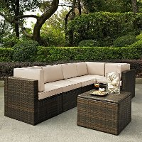 KO70007BR-SA Sand and Brown 6 Piece Wicker Patio Furniture Set - Palm Harbor