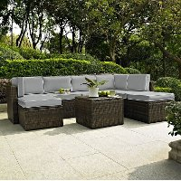 KO70008BR-GY Gray and Brown 8 Piece Wicker Patio Furniture Set - Palm Harbor
