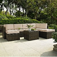 KO70008BR-SA Sand and Brown 8 Piece Wicker Patio Furniture Set - Palm Harbor