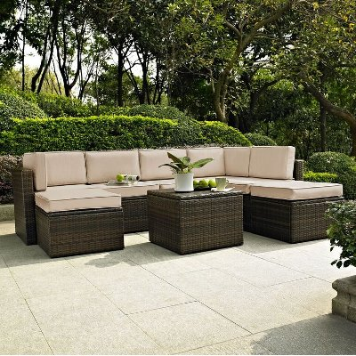 KO70008BR SA Sand And Brown 8 Piece Wicker Patio Furniture Set   Palm Harbor