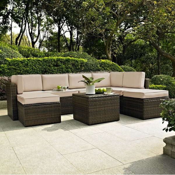 KO70008BR-SA Sand and Brown 8 Piece Wicker Patio Furniture Set - Palm Harbor ... & Patio Furniture u0026 Outdoor Furniture at RC Willey - Page 2