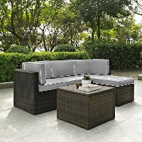 KO70011BR-GY Gray and Brown 5 Piece Wicker Furniture Set - Palm Harbor
