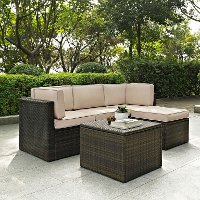KO70011BR-SA Sand and Brown 5 Piece Wicker Furniture Set - Palm Harbor