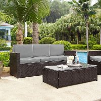 KO70048BR-GY Gray and Brown Wicker Patio Furniture Sofa - Palm Harbor